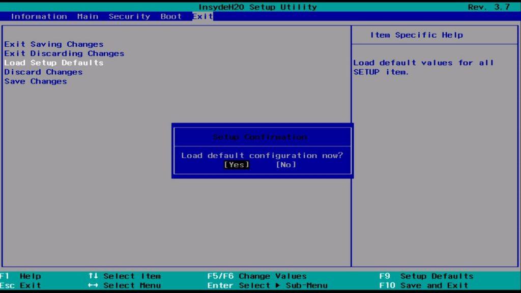 Kembalikan pengaturan BIOS