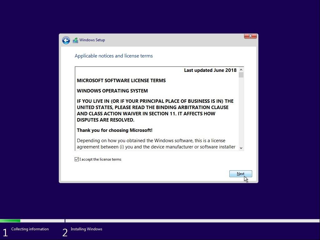 • Di halaman Applicable Notices and license terms, centang bagian I accept the licence terms dan klik Next untuk langkah berikutnya.