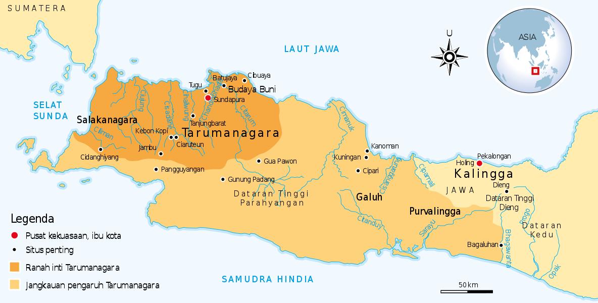 Letak dari Kerajaan Tarumanegara